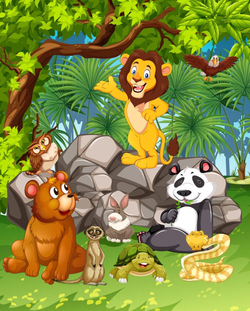 KINDERGESCHICHTEN — Kurze Kindergeschichten  Der Löwe war der König des Waldes. Er lebte mit seiner Familie im schönsten Teil des Waldes und regierte seine Untertanen. Er hatte zwei Kinder und lebte glücklich mit seiner Frau zusammen. Alle beneideten ihn um sein perfektes Leben. Doch nicht nur das. Er sah auch noch sehr gut aus. Und das wusste er. Bei jeder Gelegenheit brachte er zur Sprache, wie gut er aussah. Manche Tiere waren davon genervt.